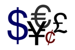 Mixed image of currency symbols; dollar, euro, pound, yen, cents